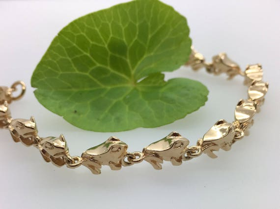 Enchanting Solid Gold Frog Bracelet