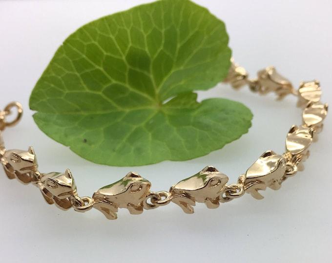 Enchanting Solid Gold Frog Bracelet