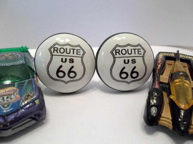 Route 66 Knob Ceramic Cabinet Pull Unique Restoration Knob Drawer Pull