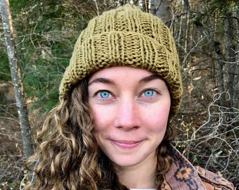 KELP BEANIE | Cozy Organic Cotton Green Knit Hat