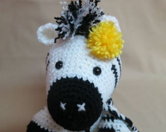 Crocheted amigurumi zebra stuffed toy plushie, ready to ship, OOAK