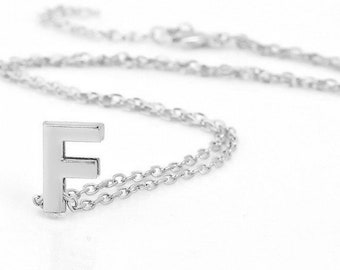 Silver Initial Necklace, Personalized Initial Necklace, Handmade Initial Necklace, Gift For Her, Personalized Handmade Necklace, Initial