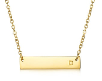 Gold Bar Initial Necklace, Personalized Bar Initial Necklace, Bar Initial Necklace, Initial Necklace, Gift For Her, Gold Initial Necklace