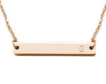 Rose Gold Initial Necklace, Rose Gold Bar Initial Necklace, Personalized Bar Initial Necklace, Rose Gold, Initial Necklace, Gift For Her