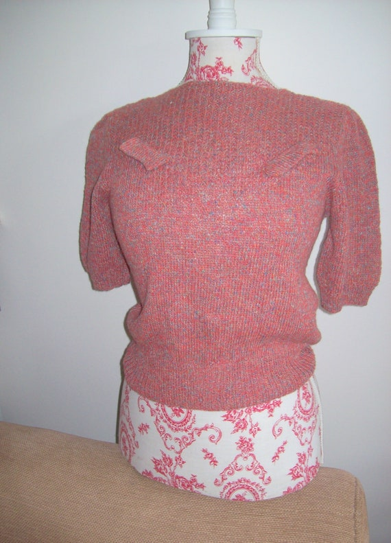 1940s Embroidered Wool Bateau Neck Short Sleeved Sweater Top