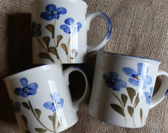 Three Vintage 1980's Hand Painted Blue Floral Coffee / Tea Mugs Made in China