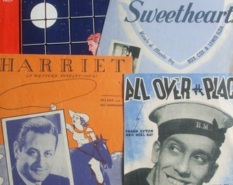 Choice of Four Vintage Sheet Music Songs for Piano & Voice: All Over the Place, Harriet, I'm in Love with Two Sweethearts, By Yourself