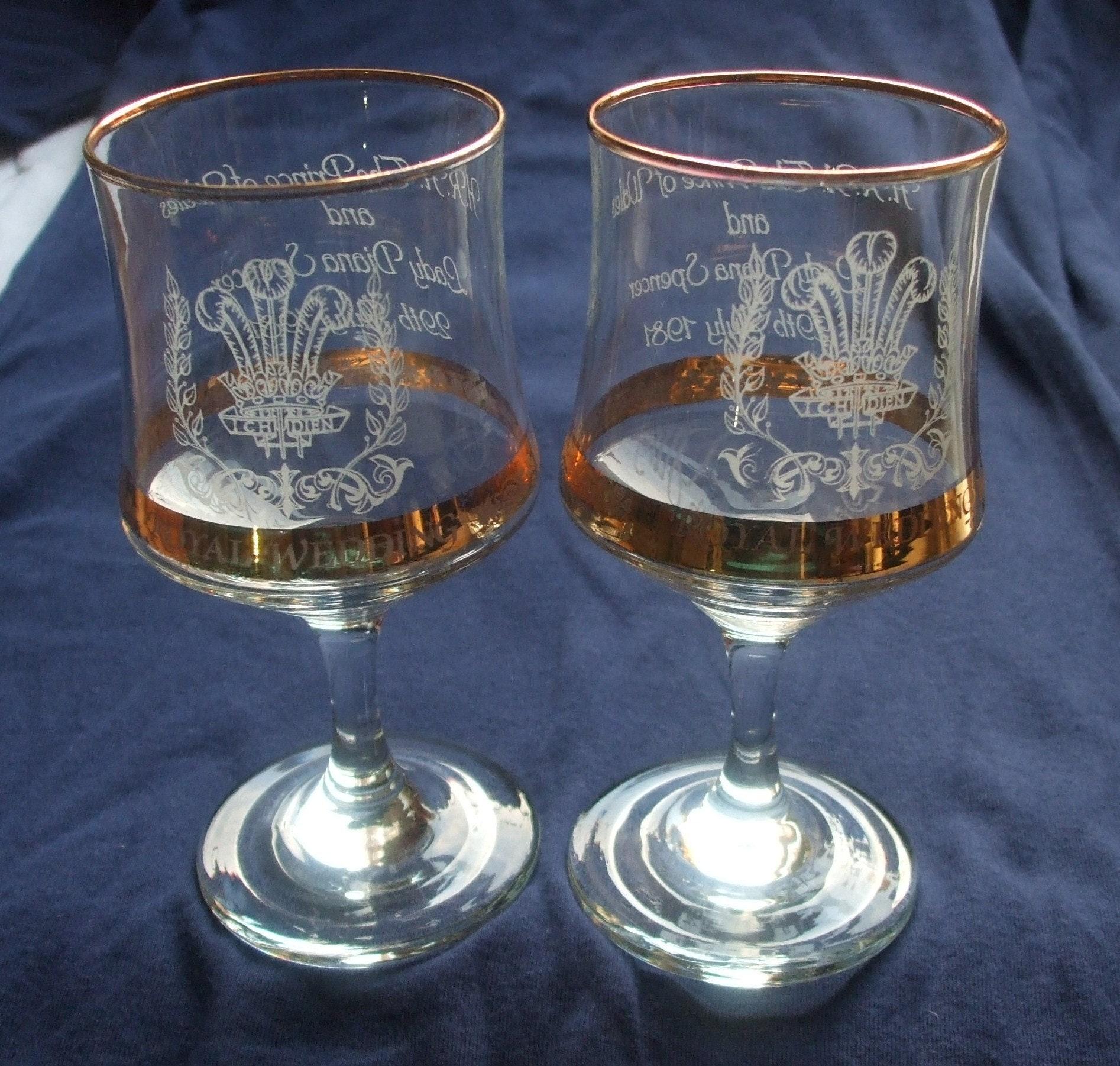 Lady Diana Wedding Glasses: Pair Of Royal Wedding Commemorative Goblets / Wine Glasses