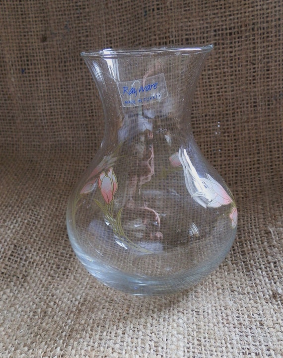 Vintage Rayware Glass Vase Hyacinth Vase With Pink Floral