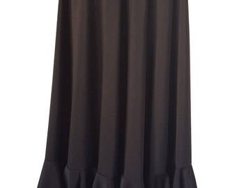Girl Flamenco Skirt in Black stretch fabric