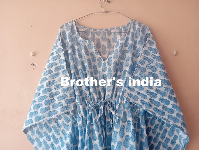Lounge Wear Hand Block Printed Kaftan Beach Dress with Tassels Indian Cotton Caftan Nightwear Comfy Dress Maternity Wear Maxi Dress