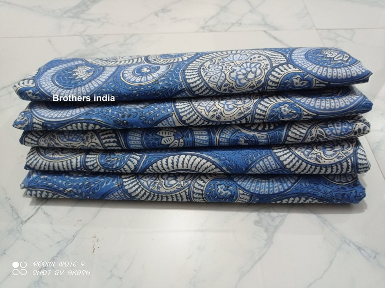 Hand Block Printed 100/% Fine Cotton Fabric-Indian Traditional Designs-Handmade Cotton Fabric-Quilt Fabric Light Weight Cotton Dress Material