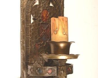 Vintage Cast Bronze Tudor Gothic Sconce with Original Polychrome