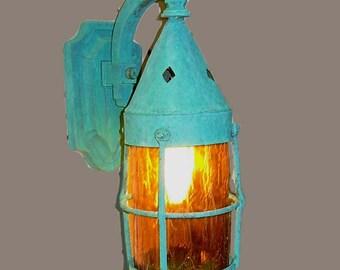 Vintage Tudor Arts & Crafts Copper Entry Light Sconce