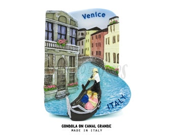 THE SMUGGLED GOODS x Made in Italy; Gondola on Canal Grande; Venice, Italy - 3D Hand-painted Resin Plaster Magnet # Roman Italian Venizia