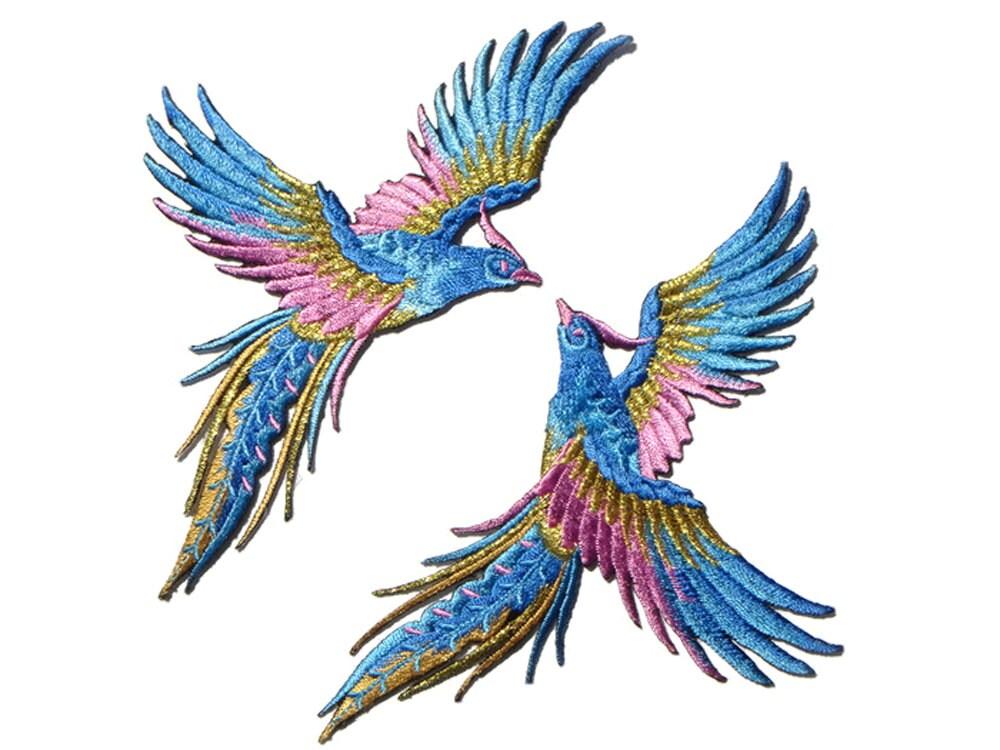 Par de animales bordados aves parche apliques parches | Etsy