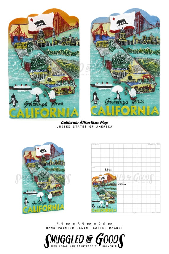 California USA Magnet Souvenir - California Attractions Map - 3D Travel on us sightseeing map, fun united states map, united states north carolina attractions, top u.s vacation destinations map, chinese hong kong mtr map, usa map, united states nature map, streets of new york city map, united states natural attractions, united states fishing map, travel destinations united states map, united states map rivers only, united states tourist attractions, united states antiques map, united states golf map, large blank united states map, printable labeled united states map, united states flights map, united states map with state parks,