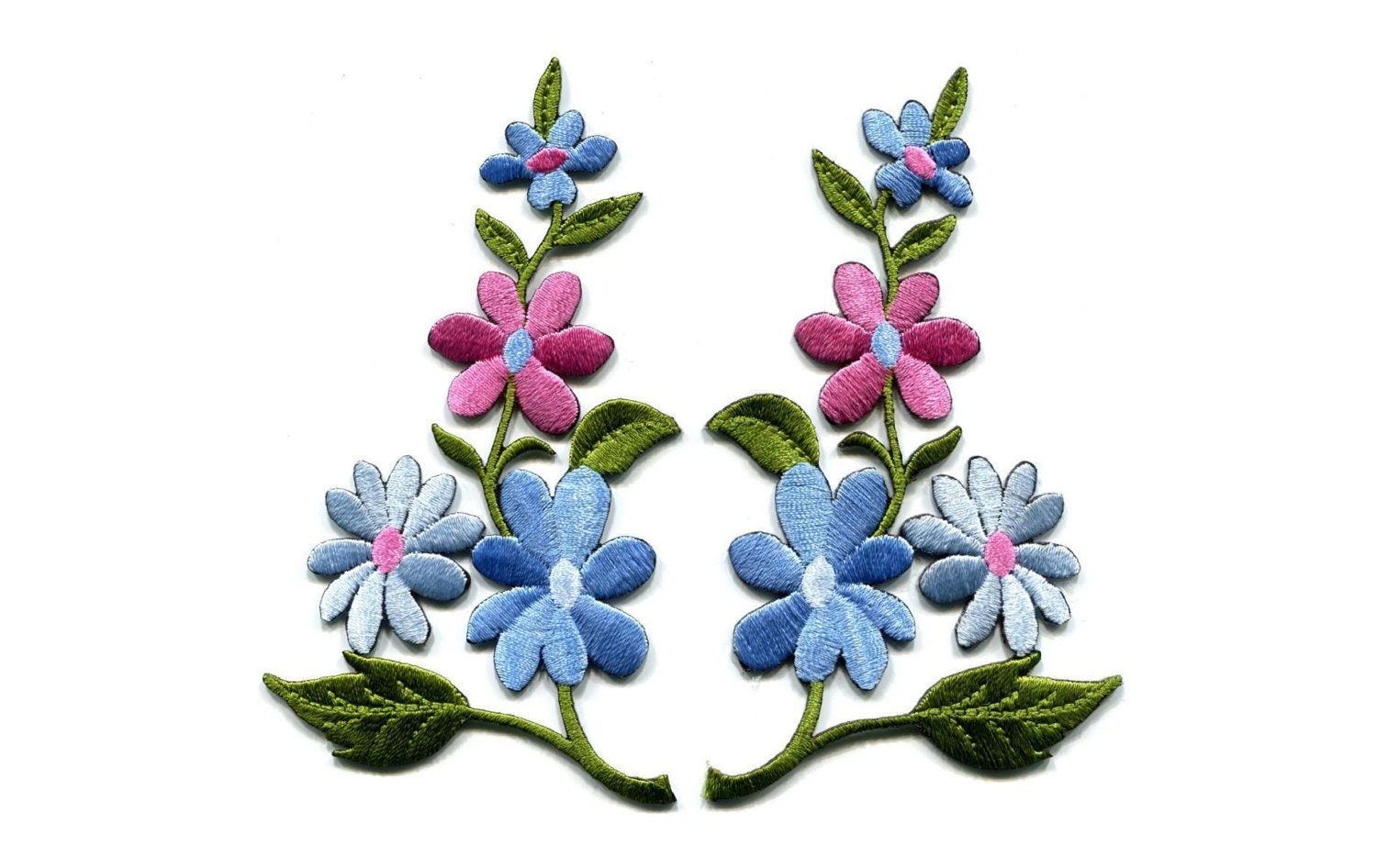 Embroidered Flower Blue Pink Jasmine Flowers Pair Flowers Etsy