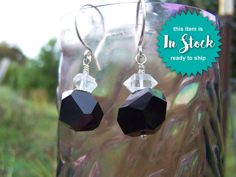 Dramatic Black Onyx /& Herkimer Diamond Earrings Chunky Faceted Onyx Nuggets Paired With Double Terminated Crystals with Sterling Silver