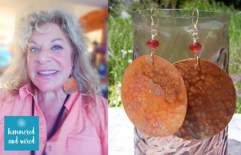 Flame Colored Dragon Scale Statement Earrings With Faceted Carnelian Stone Beads On Hand Made Gold Filled Ear Wires Large Hammered