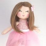 Doll, Rag doll, ballerina doll, cloth doll, dolls, handmade doll, pink, white, blonde hair, gift for a girl