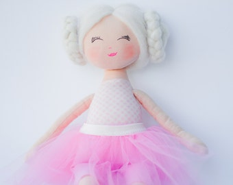 Rag doll, ballerina doll, doll, dolls, cloth doll, handmade doll, pink, white, blonde hair, gift for a girl