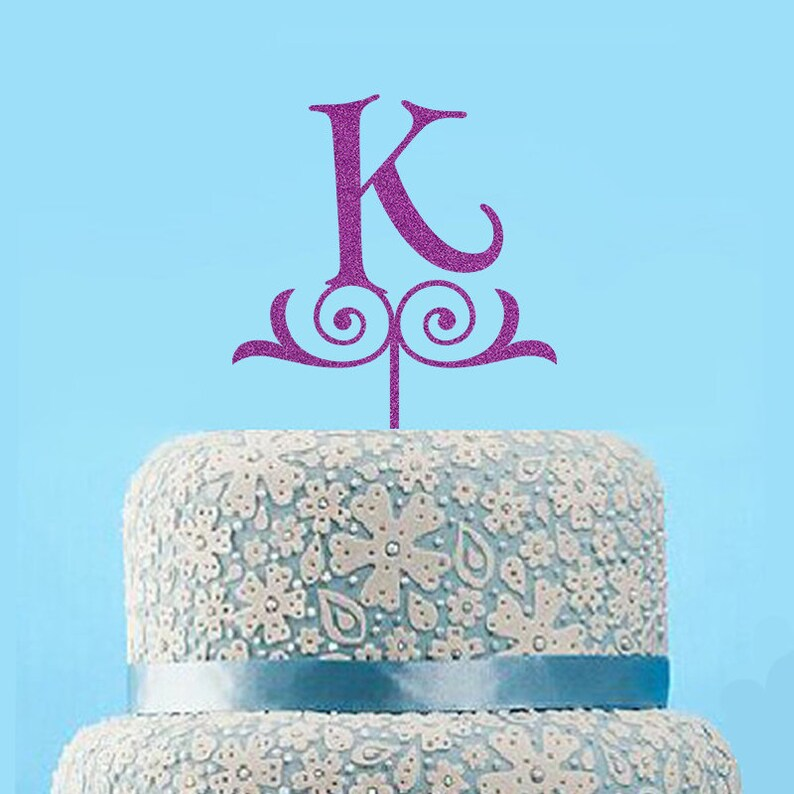 Cool Glitter Initial Wedding Cake Topper Monogram Birthday Cake Etsy Funny Birthday Cards Online Benoljebrpdamsfinfo