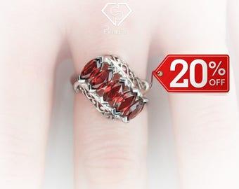 Garnet Ring.Garnet engagement ring.Garnet solitaire ring. Garnet eternity ring. Gemstone ring. January birthstone ring. Garnet silver ring.