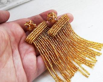 Statement earrings Gold garnet earrings Long tassel earrings Dangle drop earrings Waterfall beaded earrings Gold Oscar De La Renta Earrings