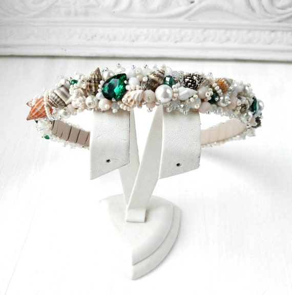 Beauty head crown Wedding headpiece Mermaid hair crown pearl Bridal pearl tiara Baroque pearls headpiece Beach wedding pearl crown