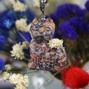 Carved Natural Gemstone Cat Necklace Pendant Healing Guardian Statue Figurine Crafts 1 Gifts Decoration\uff0825mm