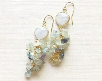 Drop Moonstone & Fluorite Beaded Chandelier Earrings // Moonstone Earrings // Gold Earrings // Fluorite Earrings // Dangle Earrings