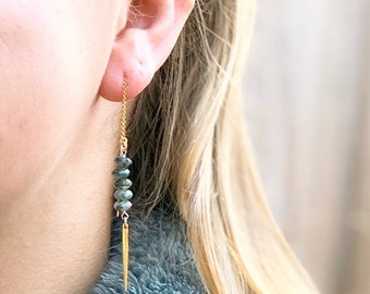 Gold Thread Earrings Meditation Chakra Stones Gift For Her Gemstone Earrings Gemstone Threaders 7 Chakra Earrings Chakra Threaders