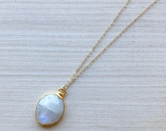 """Teardrop Moonstone Necklace in Gold on 20"""" Gold Filled Chain"""