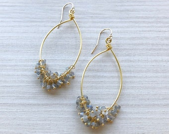 Tiny Beaded Labradorite on Gold Marquise Dangle Earrings