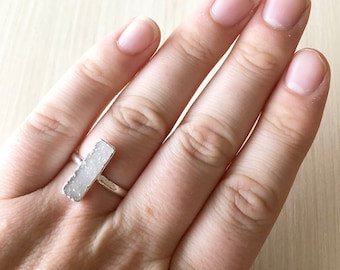 White Druzy Bar Ring in Silver, size 6