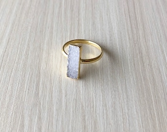 White Druzy Bar Ring in Gold, Size 6