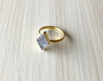 Diamond Shape Light Grey Druzy Ring in Gold, Size 5.5