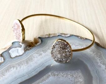 Double Druzy Cuff Bracelet in Gold, Adjustable