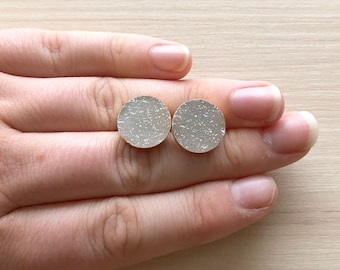 Round White Druzy Stud Earrings in Gold