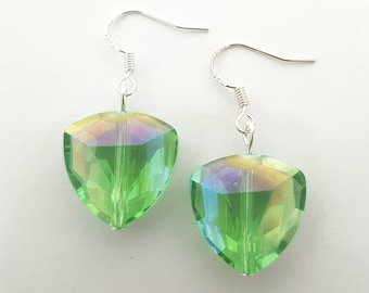 Triangle Faceted Glass Bead Green AB Sterling Silver Drop Dangle Earrings. Sparkly Reflective Shiny Unique Gift Idea For Women