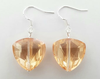 Triangle Faceted Glass Bead Amber Orange Yellow AB Sterling Silver Drop Dangle Earrings. Sparkly Reflective Shiny Unique Gift Idea For Women