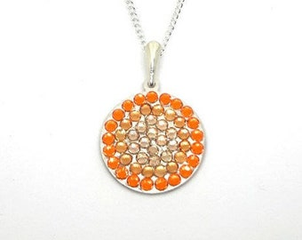 Orange Sunset Inspired Swarovski Crystal Sterling Silver Round Circle Fade Statement Pendant Necklace With Gift Box. Gift Idea for Women
