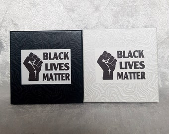 Fundraiser Black Lives Matter White Swirl Cardboard Jewellery Gift Box For Bracelets, Earrings, Necklaces and Gifts. Cotton Filled with Lid