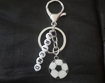 Football Personalised Custom Name Silver Keyring or Bag Charm. Gift Idea for Men, Women Or Children. Sister, Aunt, Mum, Dad, Friend