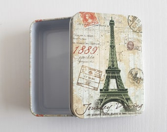 Paris France Eiffel Tower Landmark Metal Vintage Retro Tin Gift Box With Lid. Travel Inspired, Classic, Stamps, Storage, Gift Idea