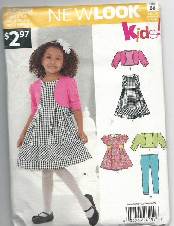 c9f92e8123179 New Look 6259 Girls Dress Leggings and Jacket Size 3-8 Uncut