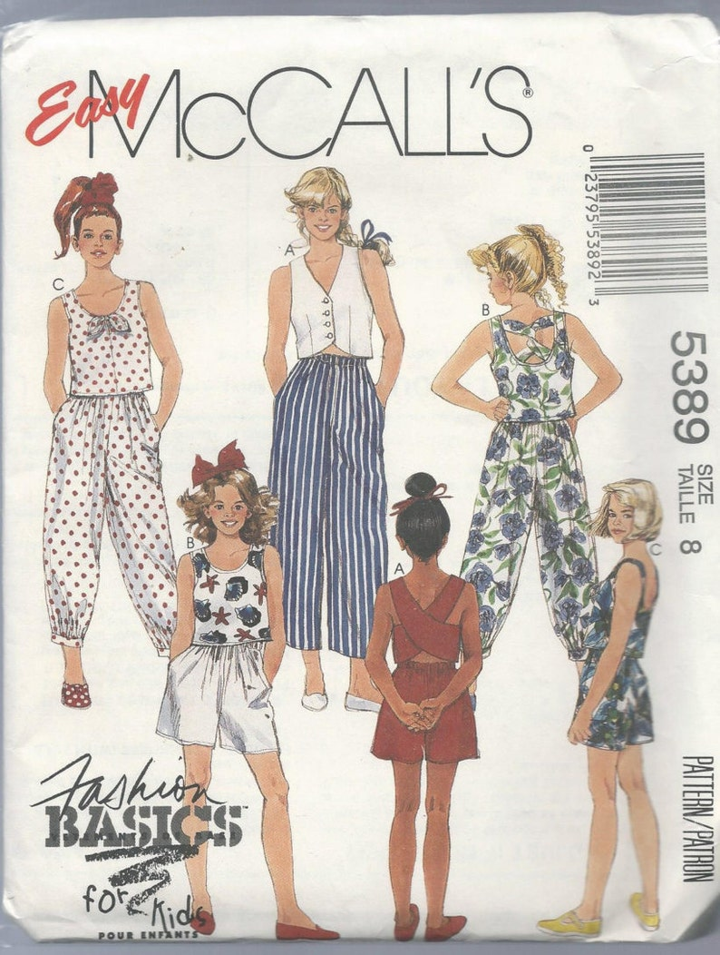 5a89805733d5c McCalls 5389 Girls Top Pants and Shorts Size 8