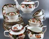 Coronet England Bone China 23 piece Tea Set Vintage Teapot Teacups Snack Plate Creamer