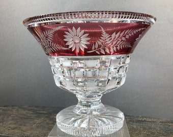 Art Glass Vintage Bohemian Ruby Red Flash Glass Large Bowl Selling Well All Over The World